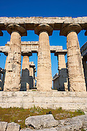 Doric style temple of Hera of Paestum, built around 550 BC by Greek colonists from Sybaris, is the oldest surviving temple in Paestum archaeological site, Italy. .<br /> <br /> If you prefer to buy from our ALAMY PHOTO LIBRARY  Collection visit : https://www.alamy.com/portfolio/paul-williams-funkystock/paestum-greek-temples.html<br /> Visit our CLASSICAL WORLD HISTORIC SITES PHOTO COLLECTIONS for more photos to buy as buy as wall art prints https://funkystock.photoshelter.com/gallery-collection/Classical-Era-Historic-Sites-Archaeological-Sites-Pictures-Images/C0000g4bSGiDL9rw