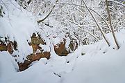 Small stream with long and quite large sandstone cliff-wall along it in snowy winter day, Gauja National Park (Gaujas Nacionālais parks), Latvia Ⓒ Davis Ulands | davisulands.com