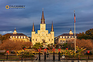 Historic St Louis Cathedral in morning light in New Orleans, Louisiana, USA