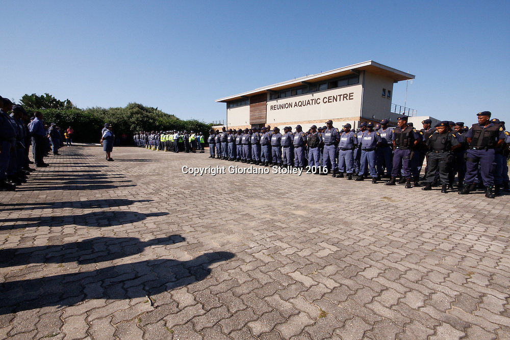 DURBAN - 13 May 2016 - Police officers from Durban, the KwaZulu-Natal south coast, Pretoria and the eThekwini Metro Police forces assemble ahead of a raid into the violent Glebelands Hostels on the edge of Durban's Umlazi township. TThe hostels have seen numerous shootings that have leftt at least 61 people dead and scores injured. Picture: Allied Picture Press/APP