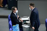 05 MAR 2021, BERLIN/GERMANY:<br /> Andreas Scheuer (L), CSU, Bundesverkehrsminister, und Jens Spahn (R), CDU, Bundesgesundheitsminister, im Gespraech, waehrend einer Bundestagsdebatte, Plenum, Reichstagsgebaeude, Deutscher Bundestag<br /> IMAGE: 20210305-01-0<br /> KEYWORDS: Maske, Mundschutz, Covid-19, Corona