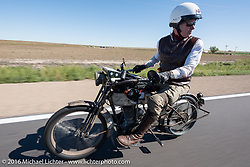 Dean Bordigioni of California riding his Class-1 single-cylinder single-speed 1914 Harley-Davidson through the Kansas countryside during the Motorcycle Cannonball Race of the Century. Stage-9 Dodge City, KS to Pueblo, CO. USA. Monday September 19, 2016. Photography ©2016 Michael Lichter.