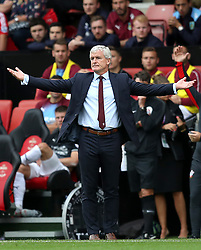 Southampton manager Mark Hughes on the touchline during the Premier League match at St Mary's, Southampton.