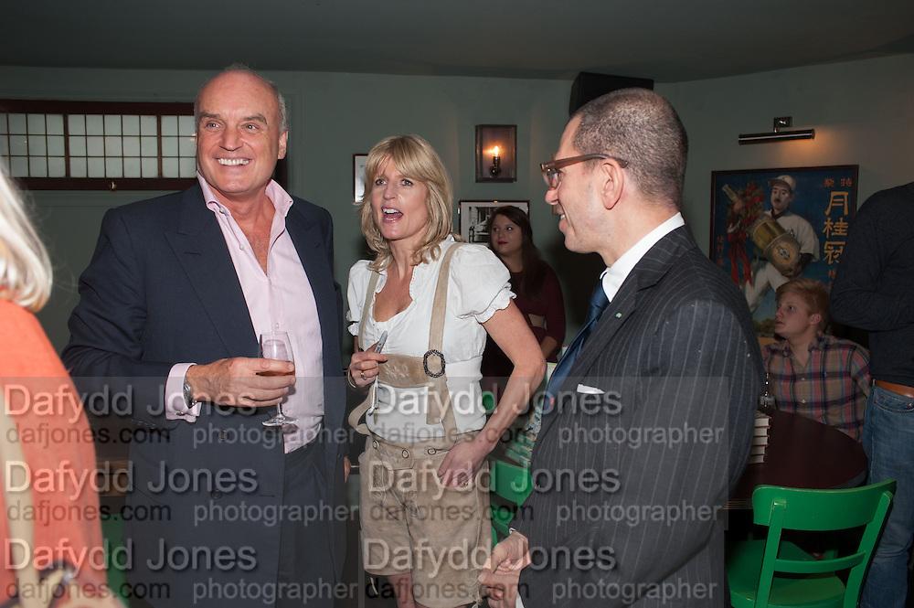 NICHOLAS COLERIDGE; RACHEL JOHNSON; JONATHAN NEWHOUSE, Party to celebrate the publication of 'Winter Games' by Rachel Johnson. the Draft House, Tower Bridge. London. 1 November 2012.