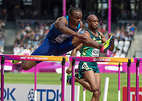Athletics - 2017 IAAF London World Athletics Championships - Day Three, Morning Session<br /> <br /> 110m Hurdles Men - Heats<br /> <br /> Aries Merritt (United States) clears the high hurdle at the London Stadium<br /> <br /> COLORSPORT/DANIEL BEARHAM