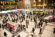 Railway station concourse crowded with people, Liverpool Street station, London, England, UK