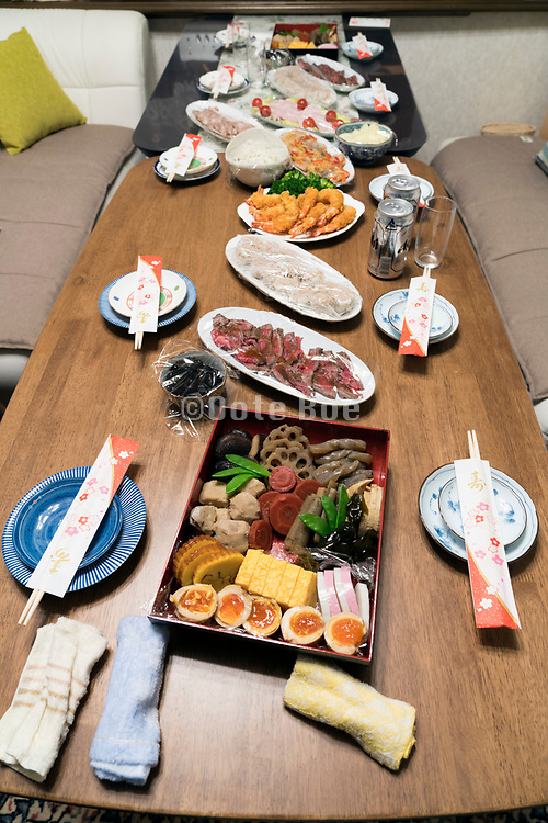 New Year day table set with the traditional Osechi food Japan culture