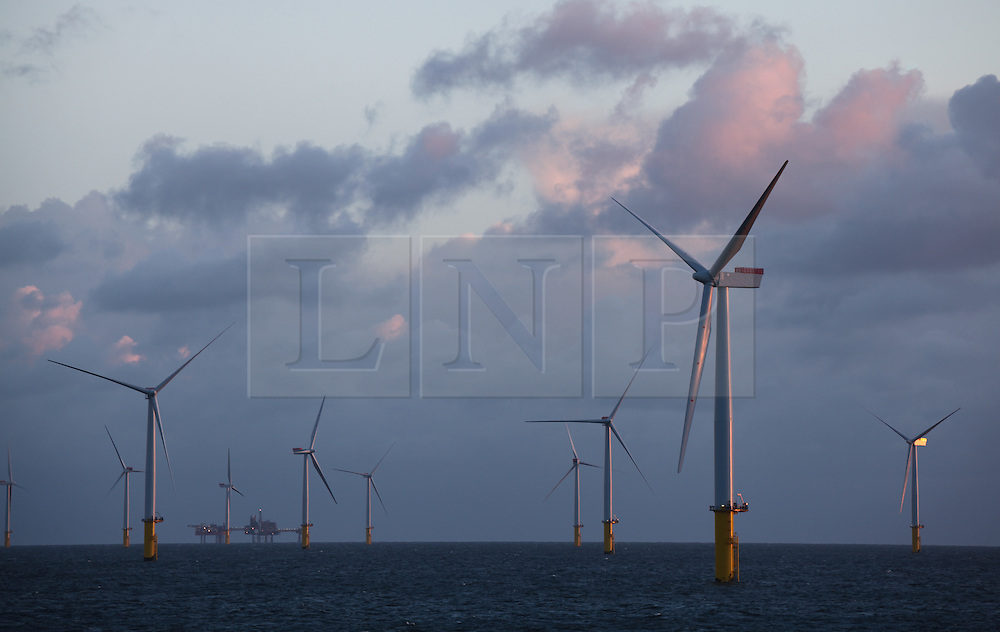 © Licensed to London News Pictures. 22/03/2014. North Wales, UK. The rising sun reflects from the turbines on the Gwynt y Môr Offshore Wind Farm off the coast of North Wales this morning, 22nd March 2014. Photo credit : Rob Arnold/LNP