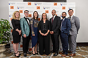 Lonnie Ali, widow of Muhammad Ali and Co-Founder of the Muhammad Ali Center, center, poses with the six 2017 Muhammad Ali Six Core Principle Awardees, from left, Hannah Taylor, Gavin Armstrong, Iseult Ward, Mohammed Ashour, Anoop Jain and John-Son Oei at the fifth annual Muhammad Ali Humanitarian Awards Saturday, Sept. 23, 2017, at the Marriott Louisville Downtown in Louisville, Ky. (Photo by Brian Bohannon/Invision for Muhammad Ali Center/AP Images)