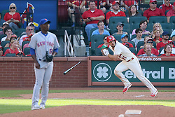 July 8, 2017 - St Louis, MO, USA - The St. Louis Cardinals' Paul DeJong hits a double off of New York Mets pitcher Rafael Montero in the eighth inning, one of his four extra-base hits on the day, on Saturday, July 8, 2017, at Busch Stadium in St. Louis. The Cards won, 4-1. (Credit Image: © Chris Lee/TNS via ZUMA Wire)