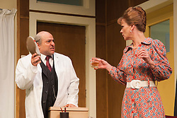 © Licensed to London News Pictures. 09/05/2012. London, England. Omid Djalili as Dr. Rance and Samantha Bond as Mrs Prentice. What the Butler Saw by Joe Orton and directed by Sean Foley opens at the Vaudeville Theatre, London. Photo credit: Bettina Strenske/LNP