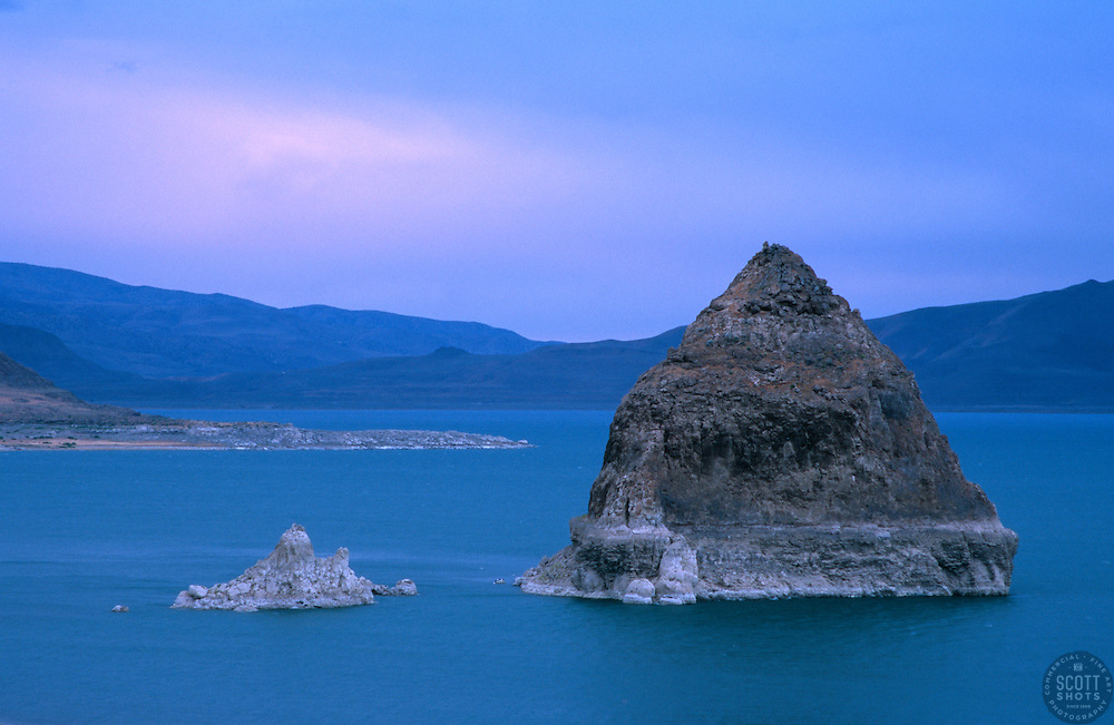 """""""Sunset at Pyramid Lake, Nevada""""- These tufas were shot from the east shore of Pyramid Lake, Nevada.<br /> Photographed: June 2006"""