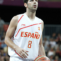 02 August 2012: Spain Jose Calderon is seen at the free throw line during 79-78 Team Spain victory over Team Great Britain, during the men's basketball preliminary, at the Basketball Arena, in London, Great Britain.