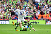 Forest Green Rovers Mark Ellis(5) tackles Tranmere Rovers Andy Cook(9) during the Vanarama National League Play Off Final match between Tranmere Rovers and Forest Green Rovers at Wembley Stadium, London, England on 14 May 2017. Photo by Adam Rivers.