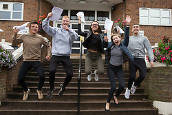 """© Licensed to London News Pictures. 15/08/2016. Sutton Coldfield, West Midlands,UK. Bishops Vesey's Grammar School pupils celebrating their A level results. Pictured from left, Ben Brady, Daniel Carruthers, Lucy Parize,Jemina Richardson-Jones, Rory Gaskin, all 18. Headmaster Dominic Robson said, """"The pupils had done amazingly well, achieving 80% A star and B grades especially given the change to the marking of the A level system this year. Photo credit: Dave Warren/LNP"""