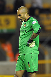 Wolverhampton Wanderers' Carl Ikeme cuts a dejected figure - Photo mandatory by-line: Dougie Allward/JMP - Mobile: 07966 386802 - 01/10/2014 - SPORT - Football - Wolverhampton - Molineux Stadium - Wolverhampton Wonderers v Huddersfield Town - Sky Bet Championship