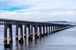 View of Tay Railway bridge crossing the River Tay at Dundee in Scotland, United Kingdom