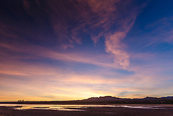 Sunset on pond,  Bosque del Apache at sunset, National Wildlife Refuge, New Mexico, USA.