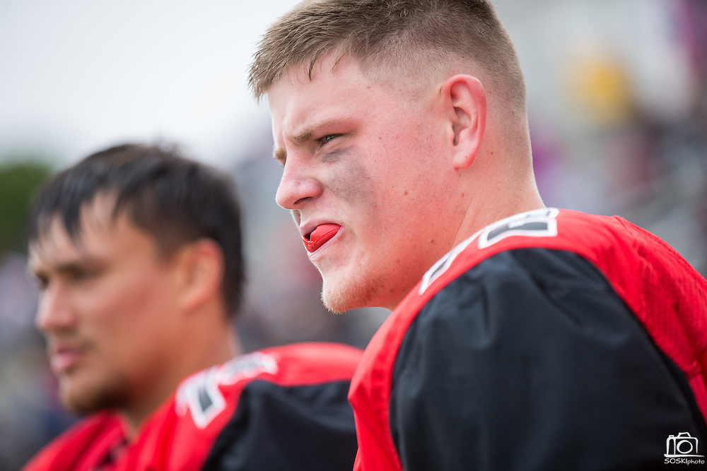 Community College of San Francisco outside lineman David Galten (72) hangs out on the sideline during a game against College of Siskiyous at Community College of San Francisco in San Francisco, Calif., on September 10, 2016. (Stan Olszewski/Special to S.F. Examiner)