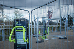© Licensed to London News Pictures. 30/03/2020. London, UK. An outdoor gym is fenced off at the Queen Elizabeth Olympic Park in east London as lockdown continues.  Photo credit: Marcin Nowak/LNP