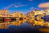 Fishing village of Henningsvaer, near Svolvaer, Lofoten Islands, Arctic, Northern Norway.
