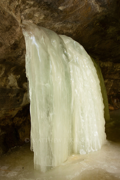 Inside the Eben Ice Caves are smaller waterfalls than the larger sheets that are typically viewed from the outside