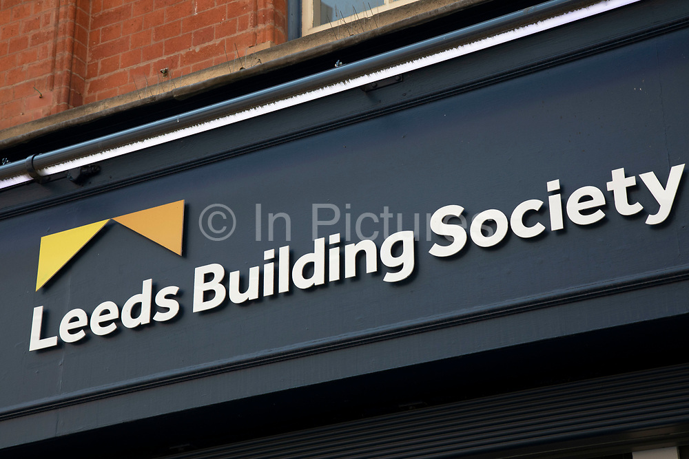 Sign for the brand and high street bank Leeds Building Society in Birmingham, United Kingdom.