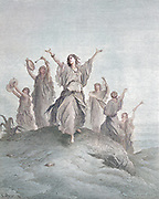 Machine colourized (AI) Jephthah's Daughter Coming to Meet Her Father Judges 11:34 From the book 'Bible Gallery' Illustrated by Gustave Dore with Memoir of Dore and Descriptive Letter-press by Talbot W. Chambers D.D. Published by Cassell & Company Limited in London and simultaneously by Mame in Tours, France in 1866