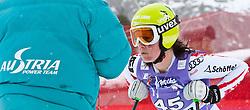 19.01.2011, Tofana, Cortina d Ampezzo, ITA, FIS World Cup Ski Alpin, Lady, Cortina, Abfahrt 1. Training, im Bild Blick von den Tribühnen im Bild Stefanie Moser (AUT, #45) // Stefanie Moser (AUT) during FIS Ski Worldcup ladies downhill first training at pista Tofana in Cortina d Ampezzo, Italy on 19/1/2011. EXPA Pictures © 2011, PhotoCredit: EXPA/ J. Groder