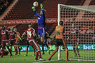 Dimitrios Konstantopoulos (Middlesbrough) makes a save during the Sky Bet Championship match between Middlesbrough and Wolverhampton Wanderers at the Riverside Stadium, Middlesbrough, England on 4 March 2016. Photo by Mark P Doherty.