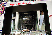 20 MAY 2010 - BANGKOK, THAILAND: The entrance to Zen department store at Central World, the second largest shopping mall in southeast Asia. The mall was destroyed by arsonist working with the anti government Red Shirts in the Ratchaprasong Intersection in Bangkok Thursday. The day after a military crackdown killed at least six people, Thai authorities continued mopping up operations around the site of the Red Shirt rally stage and battle fires set by Red Shirt supporters in the luxury malls around the intersection. Anti government forces set fire to the mall and several other locations across Bangkok after their leaders surrendered to police.   PHOTO BY JACK KURTZ
