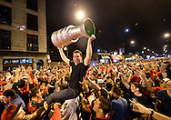 Chicago Blackhawks fans celebrate after their team defeated the Boston Bruins to win the Stanley Cup on June 24, 2013 in Chicago. The Blackhawks defeated the Bruins 3-2 in Game 6 of the Stanley Cup Finals in Boston to win the Cup 4 games to 2 in the best of seven series.  (UPI)