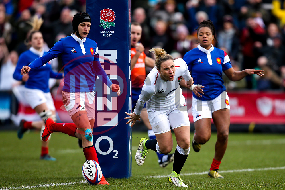 Sarah McKenna of England Women scores a try but it is disallowed - Mandatory by-line: Robbie Stephenson/JMP - 10/02/2019 - RUGBY - Castle Park - Doncaster, England - England Women v France Women - Women's Six Nations