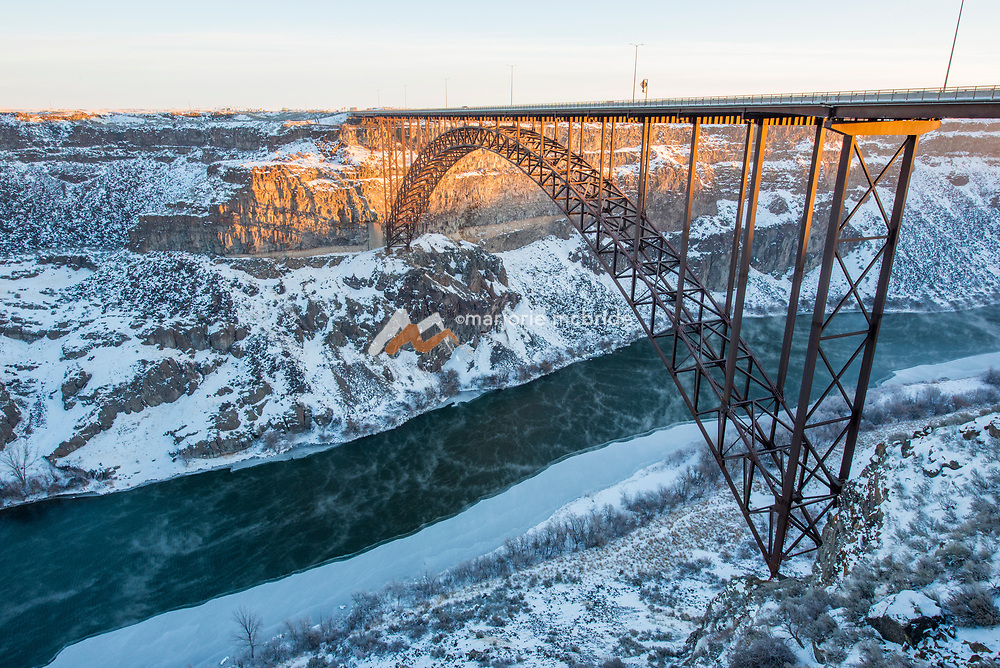 Landscape image of the Perrine Bridge in the Snaker River Canyon  during winter Twin Falls, Idaho.