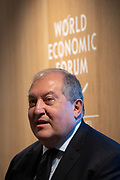 Armen Sarkissian, President of Armenia, speaking in the Balancing Domestic and Global Inequality session at the World Economic Forum Annual Meeting 2020 in Davos-Klosters, Switzerland, 22 January. Congress Centre - Hub A Room. Copyright by World Economic Forum/ Greg Beadle