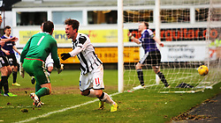 Dunfermline's Joe Cardle scoring their second goal, which came of Ayr United's Nicky Devlin.  <br /> Dunfermline 3 v 2 Ayr United, Scottish League One played at East End Park, 13/2/2016.