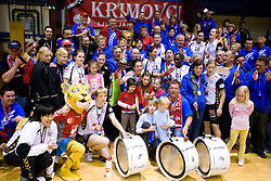 Team of Krim and their fans Krimovci at last 10th Round handball match of Slovenian Women National Championships between RK Krim Mercator and RK Olimpija, on May 15, 2010, in Galjevica, Ljubljana, Slovenia. Olimpija defeated Krim 39-36, but Krim became Slovenian National Champion. (Photo by Vid Ponikvar / Sportida)