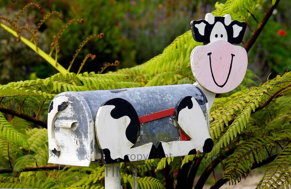 Cow design mailbox, North Island, New Zealand
