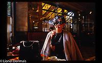 Japanese singer Megumi Satsu (b.1948 in Hokkaido - 2010 - Paris) photographed in Paris aux Deux Magots, a famous Parisian café in St Germain des Prés.