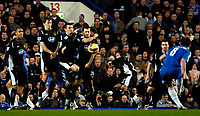 Photo: Ed Godden/Sportsbeat Images.<br />Chelsea v Wigan Athletic. The Barclays Premiership. 13/01/2007. Chelsea's Frank Lampard has his free kick blocked by the Wigan defence.