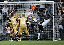 Fulham's Sone Aluko stetches for the ball in front of the Sheffield Wednesday goal