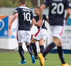 Falkirk's Peter Grant scoring their fourth goal.<br /> Falkirk 6 v 0 Cowdenbeath, Scottish Championship game played at The Falkirk Stadium, 25/10/2014.