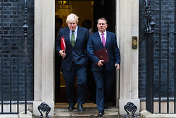 London, June 27th 2017. Foreign and Commonwealth Secretary Boris Johnson and International Trade Secretary Liam Fox leave the weekly UK cabinet meeting at 10 Downing Street in London.