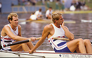 Bled, Slovenia, YUGOSLAVIA. GBR M2+, and M2-, Bow, Simon BERRISFORD, Stroke Steven REDGRAVE.  Coxed Pair and Coxless Pair .1989 World Rowing Championships, Lake Bled. [Mandatory Credit. Peter Spurrier/Intersport Images]
