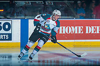 KELOWNA, CANADA - MARCH 24: Jack Cowell #8 of the Kelowna Rockets skates against the Kamloops Blazers on March 24, 2017 at Prospera Place in Kelowna, British Columbia, Canada.  (Photo by Marissa Baecker/Shoot the Breeze)  *** Local Caption ***