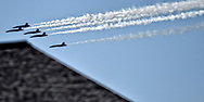 The U.S. Navy Blue Angels during a practice run over downtown Cleveland on Friday, August, 31, 2018.