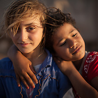 Young shepherd girls in Tubas district, northern West Bank.<br /> <br /> There are 27 people in their extended family, all living in tents because they are not allowed to build a house.