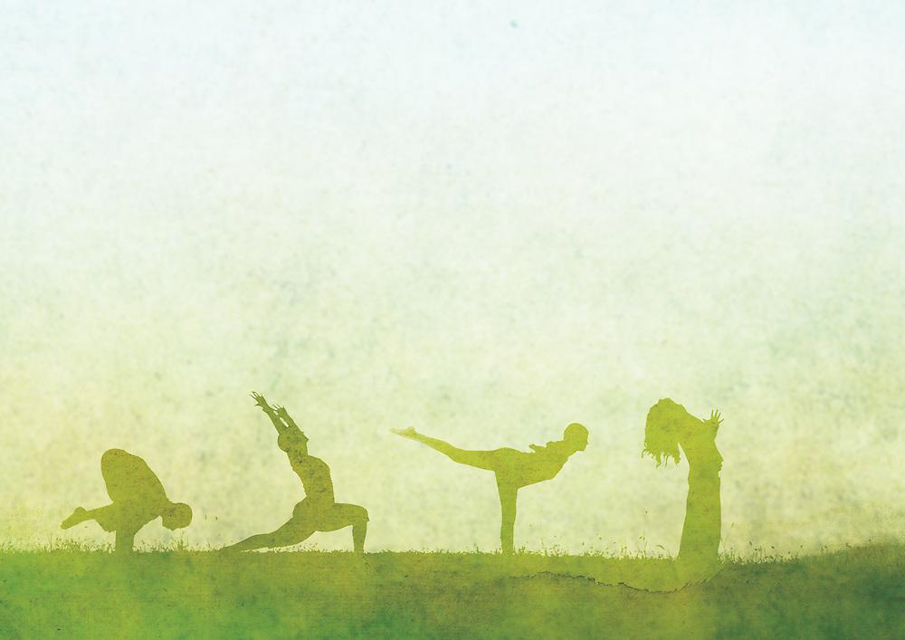 Green Yoga Silhouettes