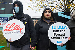 Bracknell, UK. 29 October, 2020. PETA supporters protest outside Eli Lilly's R&D centre to call on the US pharmaceutical company to ban the forced swim test. Animal rights charity PETA UK contends that the forced swim test during which small animals are dosed with an anti-depressant drug, placed in inescapable beakers filled with water and forced to swim to keep from drowning has been widely discredited and that other pharmaceutical companies including Johnson & Johnson, GlaxoSmithKline, Pfizer, Bayer, Roche and AstraZeneca have banned it.
