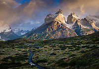 NATIONAL PARK TORRES DEL PAINE, CHILE - CIRCA FEBRUARY 2019: Trail in Patagonia with  view of the Horns peaks in Torres del Paine National Park, Chile.
